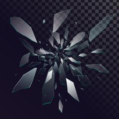 Vector broken glass, glass fragments