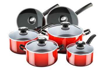 Set of cooking red kitchen utensils and cookware. Pots and pans, 3D rendering