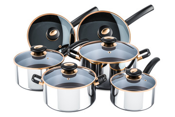 Set of cooking stainless steel kitchen utensils and cookware. Pots and pans, 3D rendering