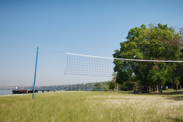 volleyball court on the beach in a children's summer camp