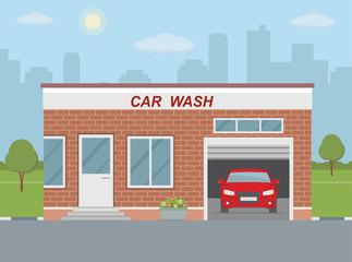 Car wash station on city background. Flat style, vector illustration.