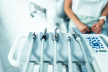 Dental instruments on the dental chair, closup photo