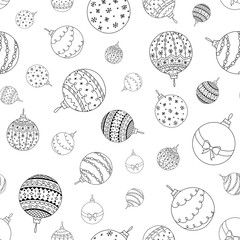 Vector seamless pattern of hand drawn Christmas ball toy. Coloring page book holiday background