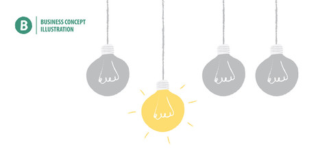 Light bulb meaning idea or creativity or solution on white background illustration vector. Business concept.