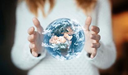 Mondo tra le mani,concetto di ecologia
