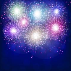 Brightly Colorful Fireworks. Blue illustration of Fireworks. Holiday fireworks background.