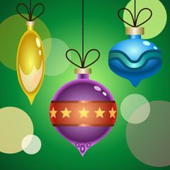 A colection of three decorative Christmas balls. Vector Illustration