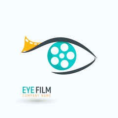 Concept reel film in a eye logo. Isolated logotype of movie industry on white background.
