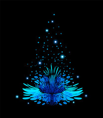 Blue magic flower on black