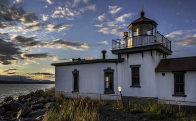 Sunset over Seattle's West Point Lighthouse
