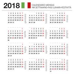 Calendario mensile Italiano 2018 con lune, festività e nr settimana