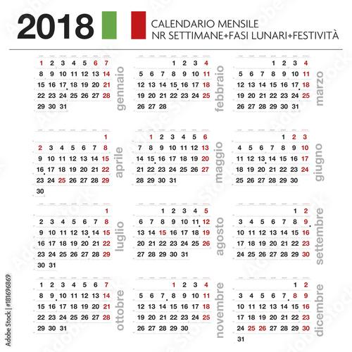 Calendario 2018 2019.Calendario Mensile Italiano 2019 Con Lune Festivita E Nr