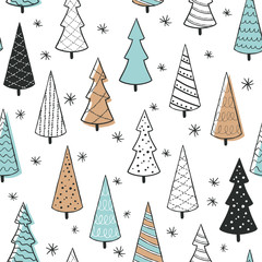 Cute seamless pattern with christmas tree. Hand Drawn vector illustration. Wrapping paper pattern. Background with abstract elements.
