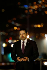 Saad al-Hariri is seen at the grave of his father in Beirut