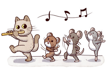 Flautist cat followed by three dancing rats