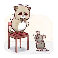 Coward cat on a chair scared of mouse