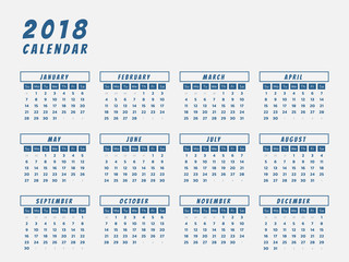 Year 2018 calendar outline design