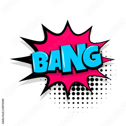 bang boom, gun Comic text speech bubble balloon  Pop art