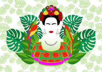young beautiful mexican or spanish woman with a traditional hairstyle with parrots and  exotic floral in the green background