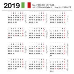 Calendario mensile Italiano 2019 con lune, festività e nr settimana