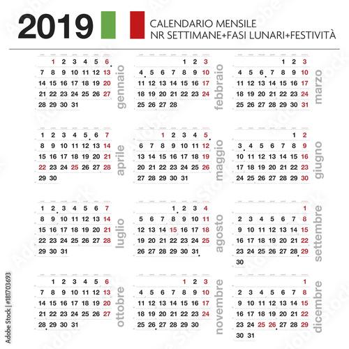 Calendario Anno 2019