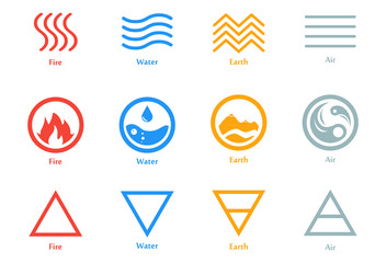 Vector illustration of four elements icons, line, triangle and round symbols set. Logo template. Wind, fire, water, earth symbol. Pictograph.