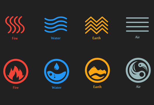 Vector illustration of four elements icons, line and round symbols set. Logo template. Wind, fire, water, earth symbol. Pictograph.