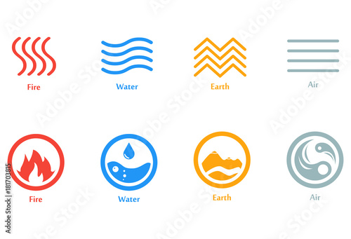 Vector Illustration Of Four Elements Icons Line And Round Symbols