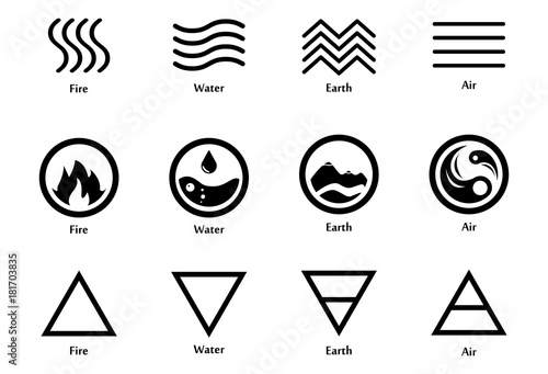 vector illustration of four elements icons line triangle and round