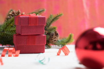 gift box on wooden for christmas