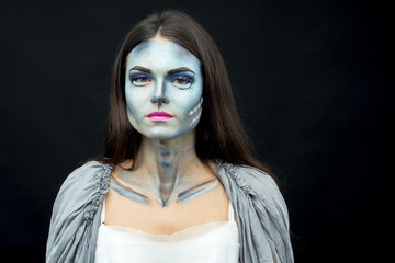 Makeup. Image of a witch in a bride dress