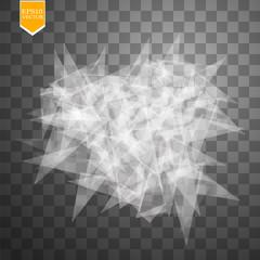 Transparent broken glass on transparent background. Vector illustration