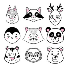 set of cute animal faces black, white. panda, sloth, squirrel, raccoon, penguin, kitty, tiger deer, bear in scandinavian style. design holiday greeting cards, invitations, print, t-shirts, home decor