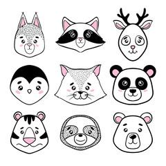 Set Of Cute Animal Faces Black White Panda Sloth Squirrel Raccoon
