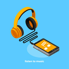 headphones and smartphone, icon in isometric style, listen to music