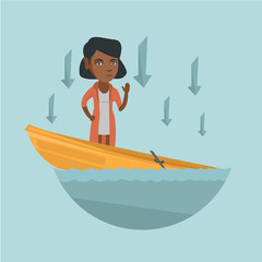 Young african-american business woman standing in sinking boat, asking for help and arrows behind her pointing down symbolizing business bankruptcy. Vector cartoon illustration. Square layout.