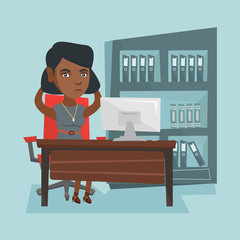 Stressed african office worker clasping her head. Overworked office worker feeling stress from work. Young stressful office worker sitting at workplace. Vector cartoon illustration. Square layout.