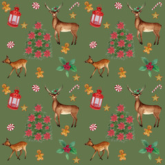 watercolor Christmas pattern with deer on gree background