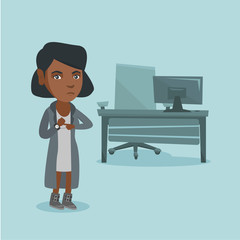 Young angry african-american employer pointing at time on wrist watch. Employer checking the time of coming to work her employees. Concept of late to work. Vector cartoon illustration. Square layout.