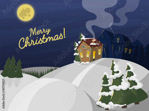 Winter Landscape With Christmas Houses Firtree Mountain Frozen Nature Wallpaper Beautiful Natural Vector Illustration