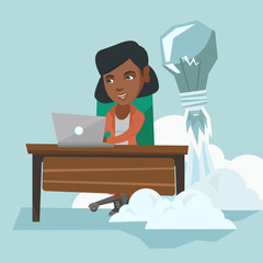 African manager working on a laptop in office while lightbulb taking off behind her back. Manager having business idea. Successful business idea concept. Vector cartoon illustration. Square layout.