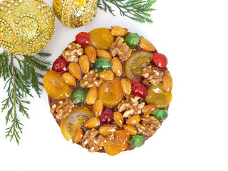 traditional fruitcake with fruits and nuts