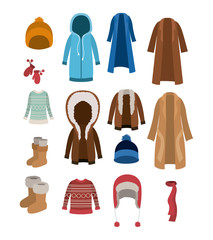winter clothes set with coats sweaters wool cap boots scarf jackets and gloves over white background