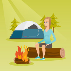 Young caucasian white woman sitting on log near campfire on the background of camping site with tent. Travelling woman resting near campfire in the campsite. Vector cartoon illustration. Square layout