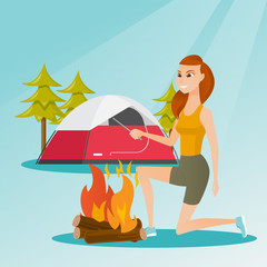 Young caucasian white woman with a wooden stick in his hand sitting near the campfire and enjoying the atmosphere. Smiling woman making the campfire. Vector cartoon illustration. Square layout.
