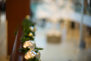 Christmas balls bokeh background