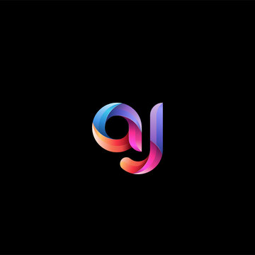 Initial lowercase letter aj, curve rounded logo, gradient vibrant colorful glossy colors on black background