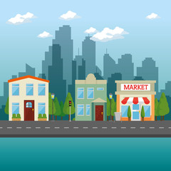 urban city landscape vector illustration graphic design