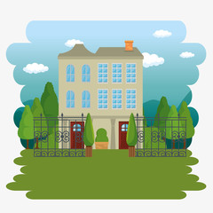 beautiful and modern family house vector illustration graphic design
