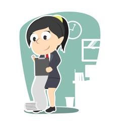 Businesswoman writing document illustration design– stock illustration